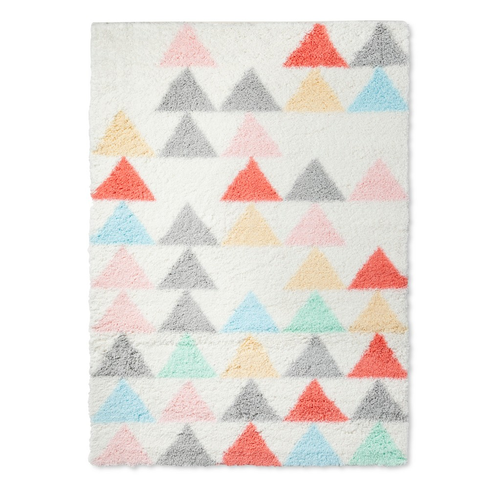 Triangle Shag Area Rug (4'x5'6) Cream - Pillowfort, Multicolored
