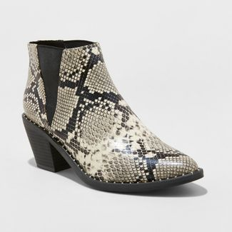 Womens Luna Faux Leather Snake Skin Studded Welt Western Bootie - Universal Thread™ Gray 6