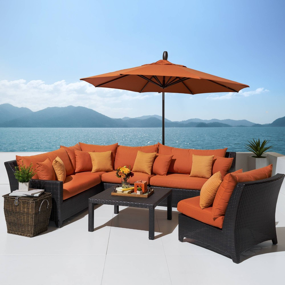 Deco 6pc Sectional and Table with Umbrella - Orange - Rst Brands