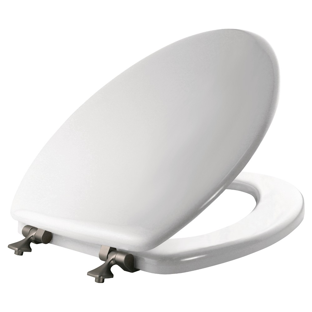 Mayfair Elongated Molded Wood Seat with Brushed Nickel Hinge and Sta-Tite Toilet Seat White - Mayfair