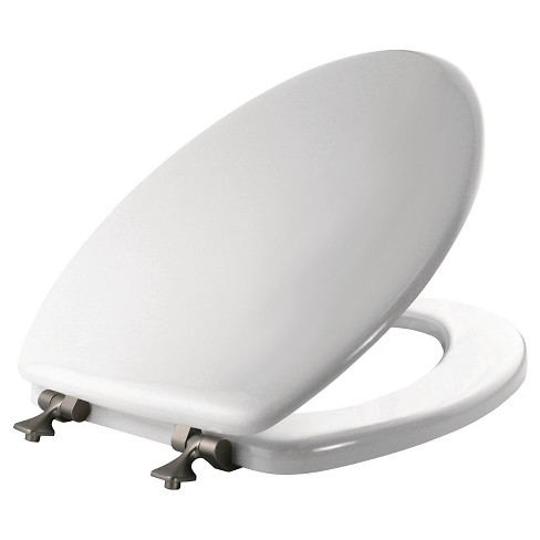 Mayfair Elongated Molded Wood Seat with Brushed Nickel Hinge and STA-TITE  Toilet Seat  White - Mayfair - image 1 of 3