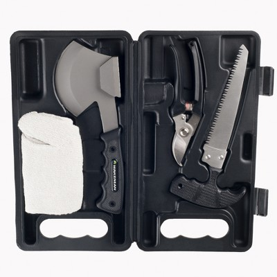 Wakeman Outdoors Camping Tool Kit w/ Axe Saw Clippers & Gloves - 4pc