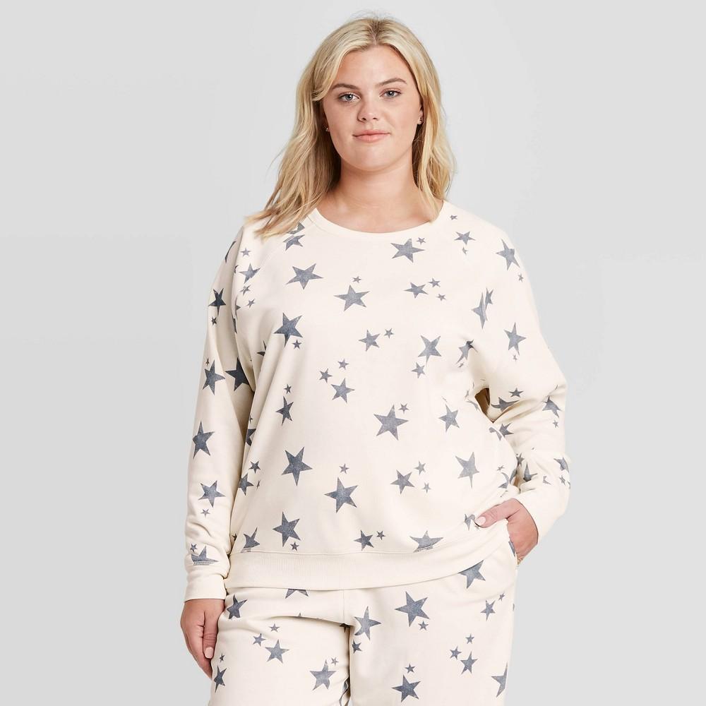 Women 39 S Plus Size Star Graphic Sweatshirt Cream 1x