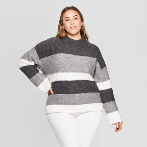 Women's Plus Size Striped Long Sleeve Mock Turtleneck Pullover Sweater - Universal Thread™ Gray - image 1 of 3
