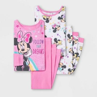 Toddler Girls' 4pc Minnie Mouse Pajama Set - Pink