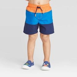 Toddler Boys' Pieced Swim Trunk - Cat & Jack™ Orange/Blue/Navy