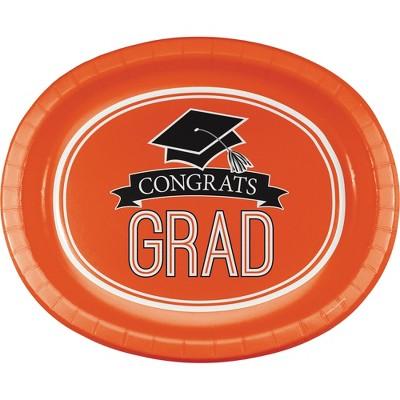 "Graduation School Spirit Orange 10"" x 12"" Oval Platters - 8ct"