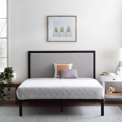 Mara Metal Platform Bed Frame with Upholstered Headboard - Brookside Home