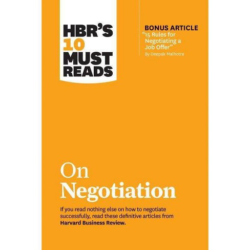 """Hbr's 10 Must Reads on Negotiation (with Bonus Article """"15 Rules for Negotiating a Job Offer"""" by Deepak - image 1 of 1"""