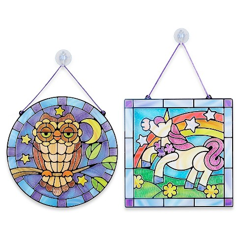 Melissa & Doug Stained Glass Made Easy Activity Kits Set: Owl and Unicorn - 180+ Stickers - image 1 of 4