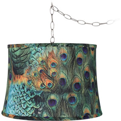 "Possini Euro Design Peacock Print 16""W Brushed Nickel Plug-In Swag Chandelier"