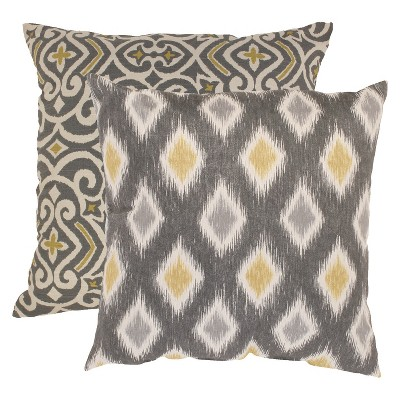 2pc Gray/yellow Damask and Rodrigo Throw Pillow Collection 18 x18  - Pillow perfect