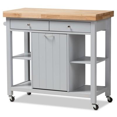 Hayward Coastal and Farmhouse Natural Wood Kitchen Cart White, Light Brown - Baxton Studio