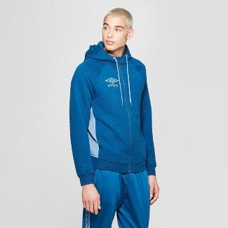 Umbro Men's Quilted Fleece Full Zip Hoodie - Poseidon Blue S