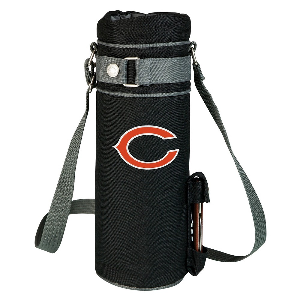 Chicago Bears - Wine Sack Beverage Tote by Picnic Time (Black) Those who enjoy wine will appreciate the style and simplicity of the Wine Sack, an insulated single-bottle tote with an adjustable shoulder strap. It features a stainless steel waiter-style corkscrew conveniently stored in its own secure pocket. The Wine Sack is made of polyester canvas with complementing brown trim. The tote is fully-insulated to keep your wine at the perfect temperature until you're ready to uncork it. Perfect for any occasion. When you'd like to bring your own wine to share, let the Wine Sack help you take it there! Color: Chicago Bears.