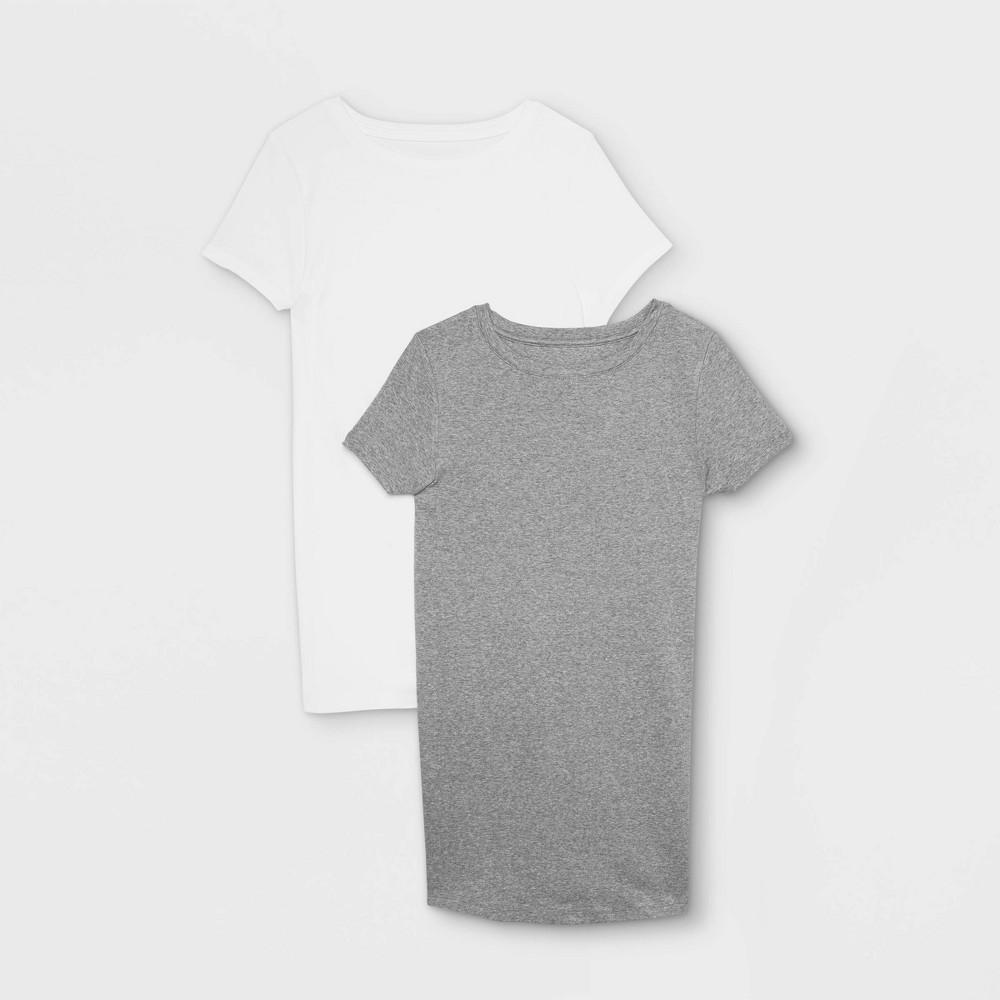Maternity Short Sleeve Non Shirred 2pk Bundle T Shirt Isabel Maternity By Ingrid 38 Isabel 8482 White Gray Xl