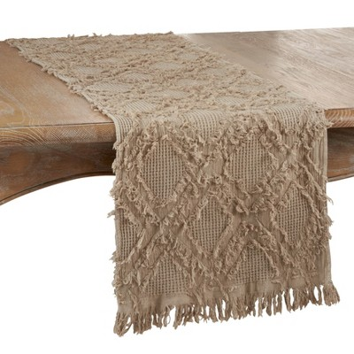 "72"" x 16"" Cotton Waffle Weave Fringed Table Runner Beige - Saro Lifestyle"