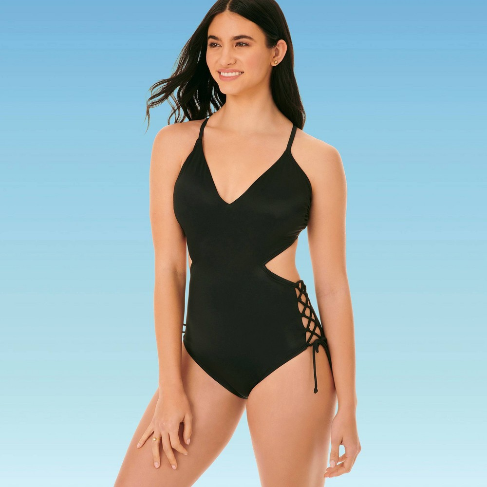 Women's Slimming Control Lace Up Side Cut Out Once Piece Swimsuit Beach Betty By Miracle Brands Black M, Women's, Size: Medium