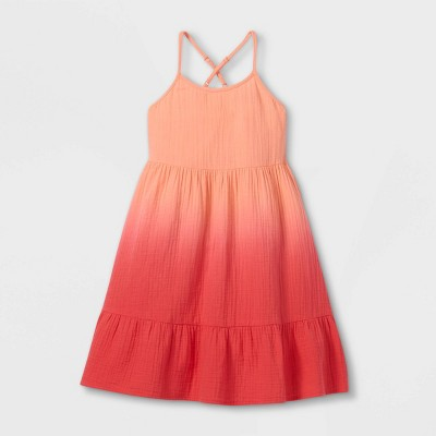 Girls' Gauze Sleeveless Dress - Cat & Jack™ Neon Peach
