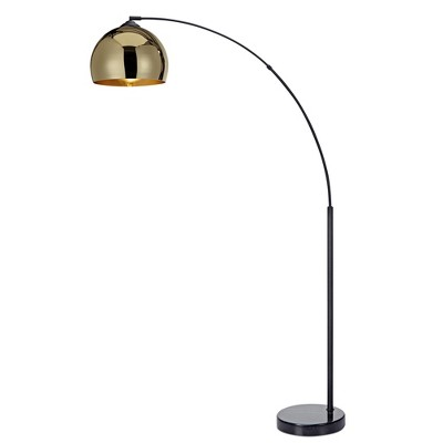 Versanora - Arquer Arc Floor Lamp with Gold Shade and Black Marble Base (Lamp Only)