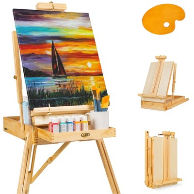 Best Choice Products Portable Wooden Folding French Easel Adjustable Sketch Box Tripod w/ Drawer, Pallet
