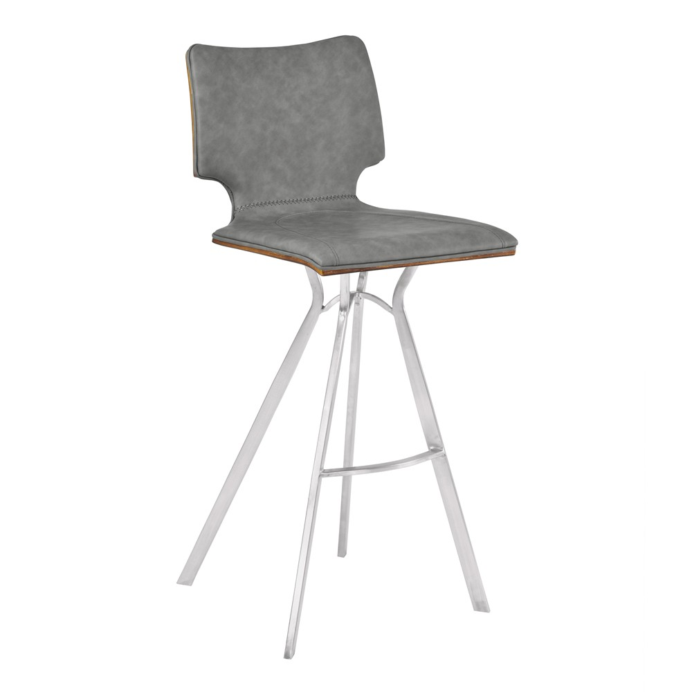 "Image of ""26"""" Armen Living Marley Counter Height Barstool Vintage Gray, Brown Gray Silver"""