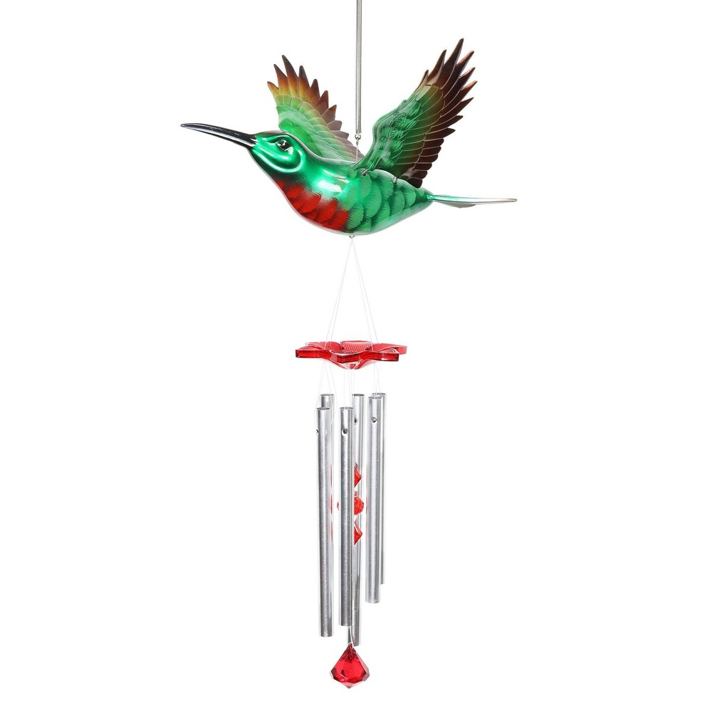 """Cheap 24"""" Plastic and Metal Hummingbird Fluttering Wings Wind Chime - Exhart"""