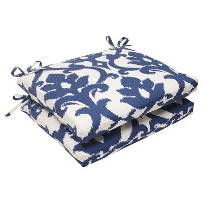 Outdoor 2-Piece Square Seat Cushion Set - Blue/White Damask