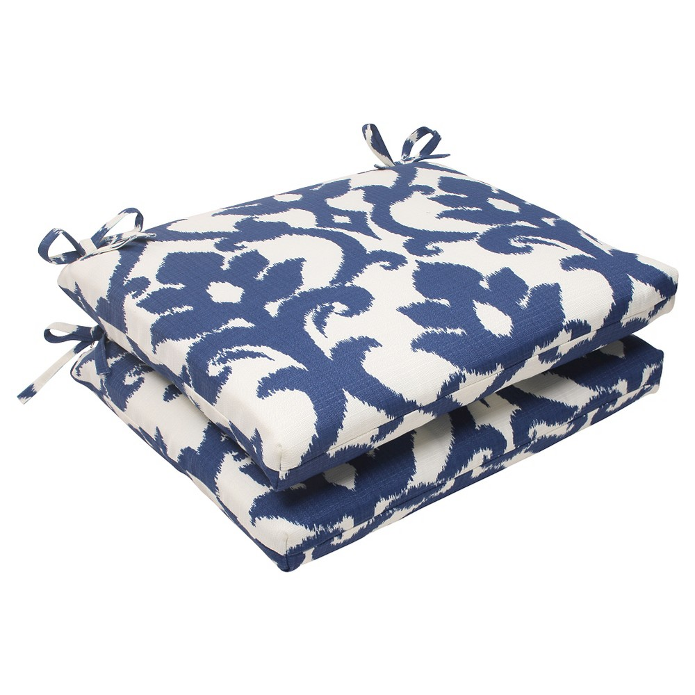 Outdoor 2-Piece Square Seat Cushion Set - Blue/White Damask