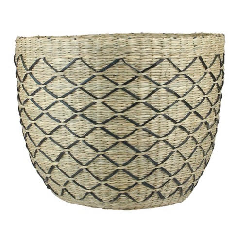 "Northlight 12.5"" Natural Seagrass Basket with Lattice Print - Brown/Black - image 1 of 3"