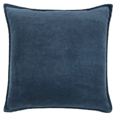 """22""""x22"""" Oversize Solid Velvet Pearl with Silver Beads Square Throw Pillow - Rizzy Home"""