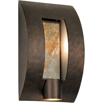 """Franklin Iron Works Modern Outdoor Wall Light Fixture Bronze 16"""" Framed Slate for Exterior House Patio Porch"""