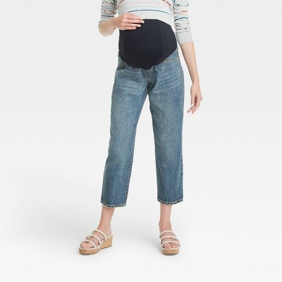 Mid-Rise Over Belly Vintage Straight Maternity Jeans - Isabel Maternity by Ingrid & Isabel™ Medium Blue