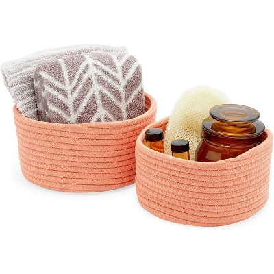 Farmlyn Creek 2-Pack Round Cotton Woven Baskets for Storage, Peach Home Organizers (2 Sizes)