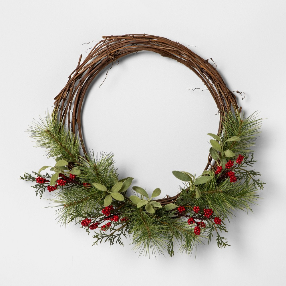 """Image of """"18"""""""" Faux Pine Wreath with Red Berries - Hearth & Hand with Magnolia"""""""