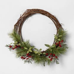 "18"" Faux Pine Wreath with Red Berries - Hearth & Hand™ with Magnolia"