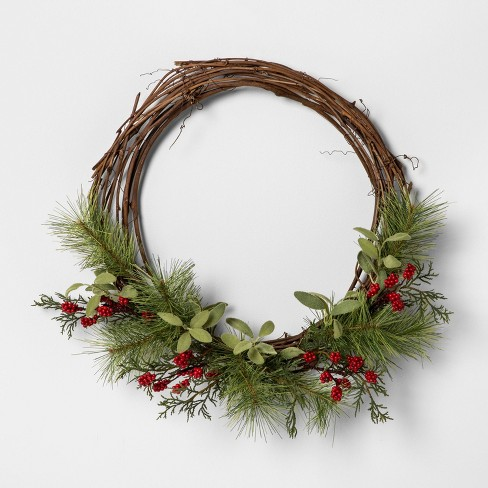 "18"" Faux Pine Wreath with Red Berries - Hearth & Hand™ with Magnolia - image 1 of 3"