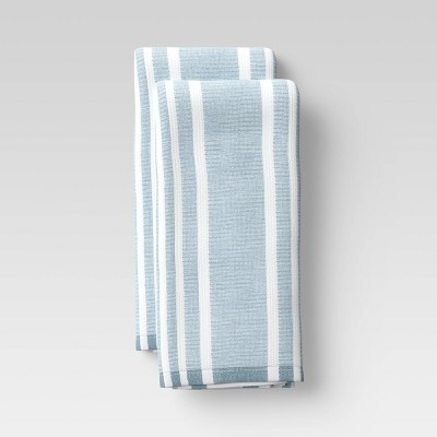2pk Cotton Striped Terry Kitchen Towels Blue - Threshold™