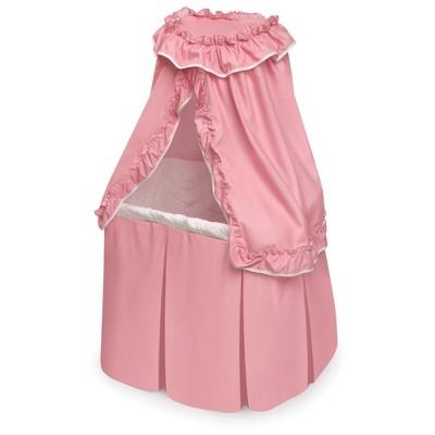 Badger Basket Kisses Rocking Doll Bassinet - Pink/White