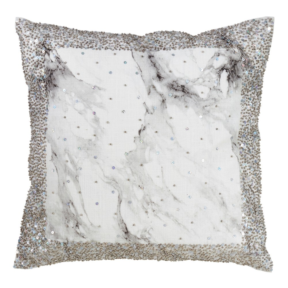 Image of Sequined Square Throw Pillow - Saro Lifestyle