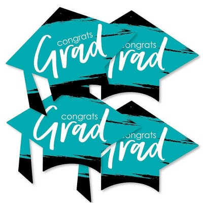 Big Dot of Happiness Teal Grad - Best is Yet to Come - Grad Cap Decorations DIY Turquoise Graduation Party Essentials - Set of 20
