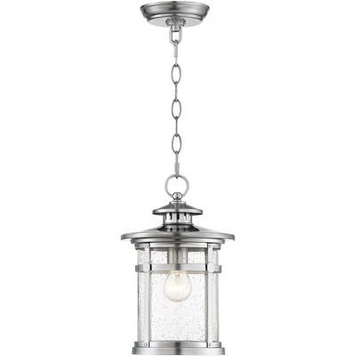 """Franklin Iron Works Industrial Outdoor Lighting Hanging Lantern Chrome 13 1/2"""" Clear Seedy Glass for Exterior House Porch Patio"""