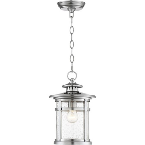 """Franklin Iron Works Industrial Outdoor Lighting Hanging Lantern Chrome 13 1/2"""" Clear Seedy Glass for Exterior House Porch Patio - image 1 of 4"""