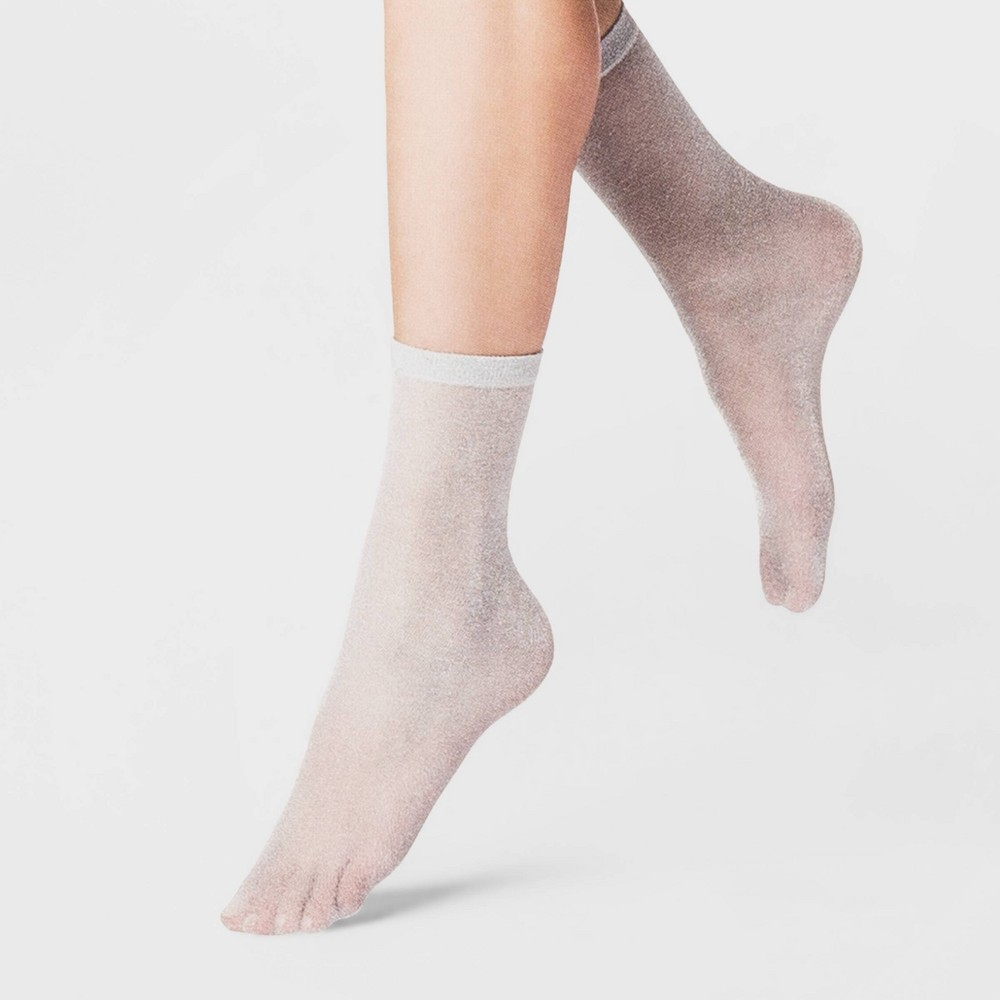 Women's Sparkly Anklet Dress Socks - A New Day Light Gray One Size