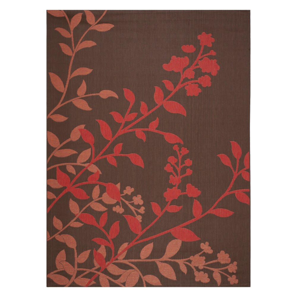 8' x 11' Barreiro Outdoor Rug Chocolate/Red (Brown/Red) - Safavieh