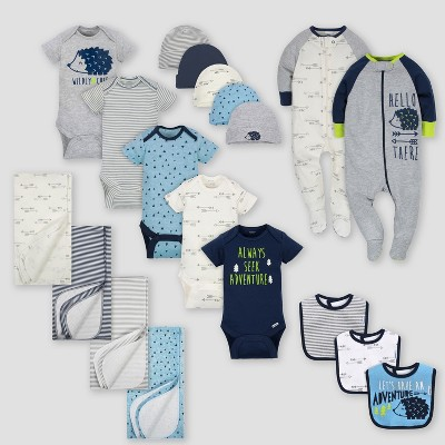 Gerber Baby Boys' 19pc Hedgehog Layette Gift Set - Blue 0-3M