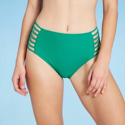 Women's Knot Strappy Side High Waist Bikini Bottom - Shade & Shore™ Jewel Green