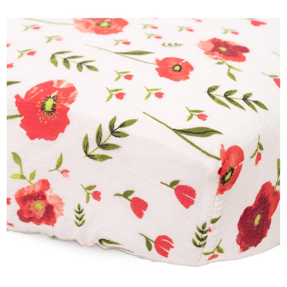 Image of Little Unicorn Cotton Muslin Fitted Crib Sheet - Summer Poppy