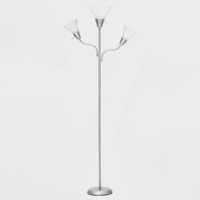 Torchiere with Two Task Lights Floor Lamp Silver (Lamp Only)- Room Essentials™