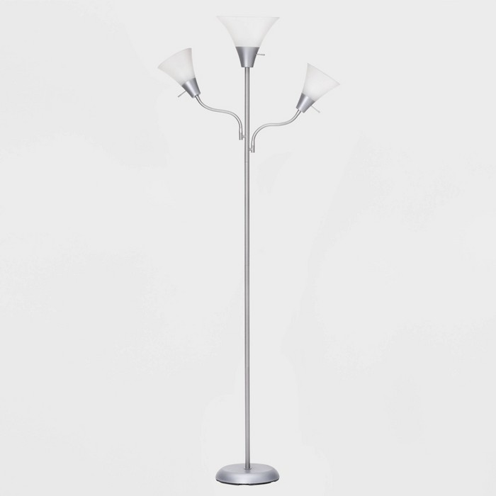Torchiere with Two Task Lights Floor Lamp Silver (Lamp Only) –  - Room Essentials™ - image 1 of 3